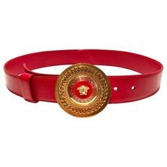 1908s Versace Red Leather Gold Medusa Metal Medallion Buckle Belt