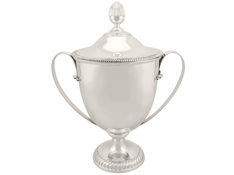 Early 20th Century 1909 Antique Edwardian Sterling Silver Presentation Cup and Cover For Sale