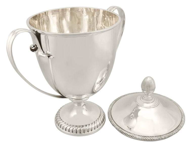 1909 Antique Edwardian Sterling Silver Presentation Cup and Cover For Sale 3