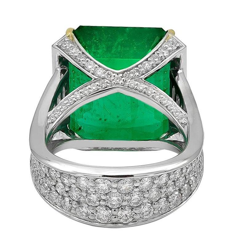 Emerald Cut 19.09 Carat African Emerald and Diamond Ring For Sale