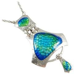 1909 Smith & Ewen Arts & Crafts Sterling Silver Enamel Pendant Necklace