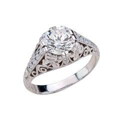 1.90 Carat Round Cut Moissanite Art Deco Ring in 14 Karat White Gold