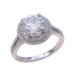 1.90ct Round Cut Moissanite Engagement Ring in 14K White Gold