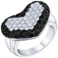 1.91 Carat Black and White Diamond 14 Karat White Gold Cocktail Ring