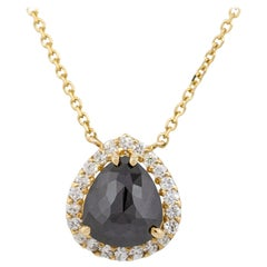 1.91 Carat Black Pear Diamond Pendant Necklace 14 Karat in Stock