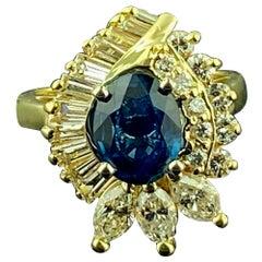 1.91 Carat Blue Sapphire and Diamond Ring in 14 Karat Yellow Gold