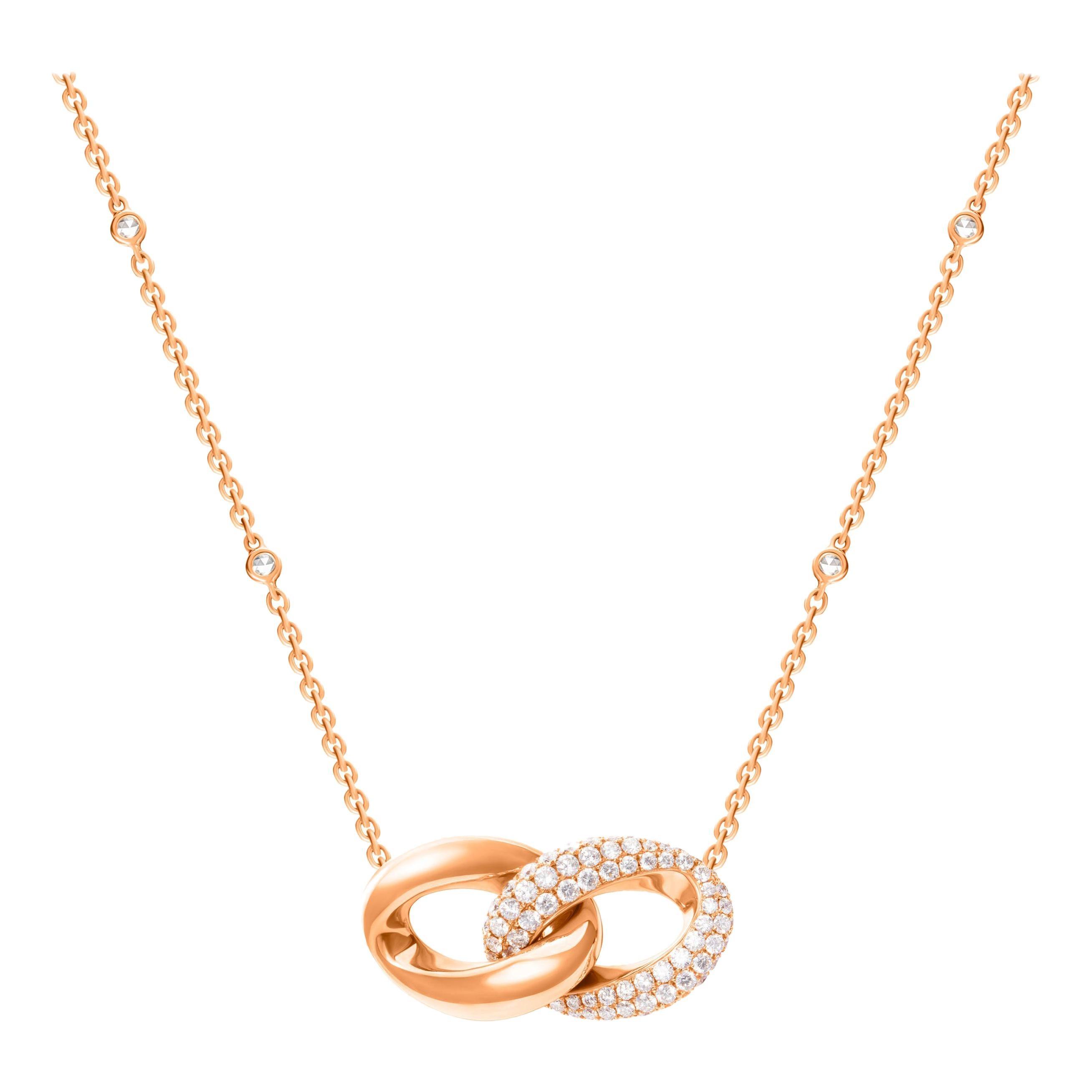 1.91 Carat Diamond 18 Karat Rose Gold Interlocking Loop Pendant Necklace