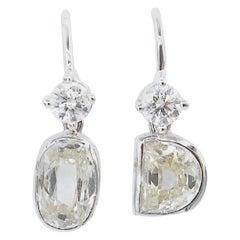 1.91 Carat Diamonds Hook Earrings 18 Karat White Gold