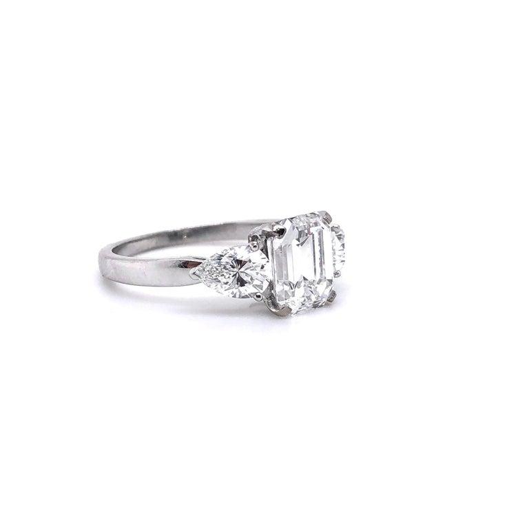 Contemporary 1.91 Carat E VVS2 GIA Certified Emerald Cut Diamond Ring For Sale
