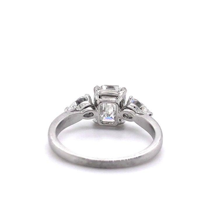 Women's 1.91 Carat E VVS2 GIA Certified Emerald Cut Diamond Ring For Sale