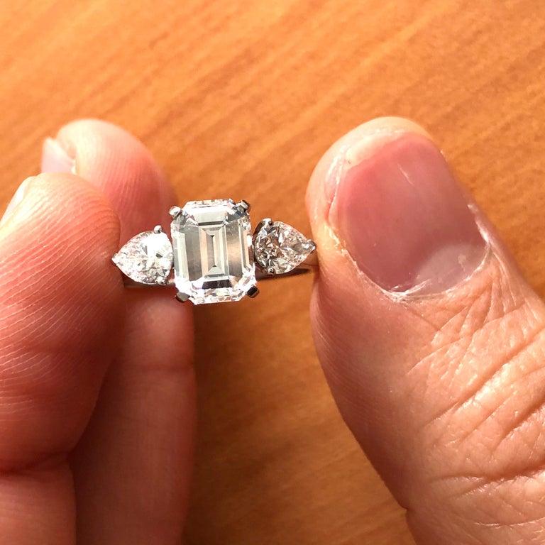 1.91 Carat E VVS2 GIA Certified Emerald Cut Diamond Ring For Sale 3
