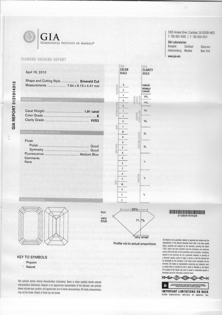 1.91 Carat E VVS2 GIA Certified Emerald Cut Diamond Ring For Sale 4