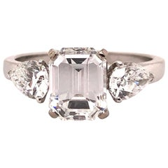 1.91 Carat E VVS2 GIA Certified Emerald Cut Diamond Ring
