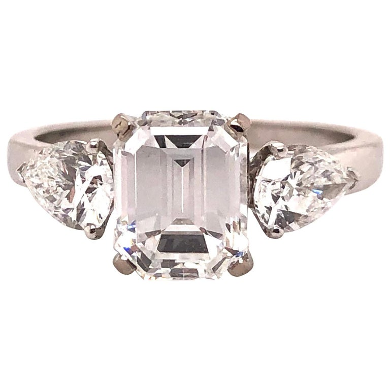 1.91 Carat E VVS2 GIA Certified Emerald Cut Diamond Ring For Sale