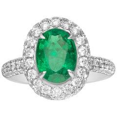 1.91 Carat Emerald and Diamond 18 Karat Gold Engagement Ring