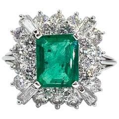 1.91 Carat Emerald and Diamond Platinum Cocktail Ring