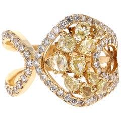 1.91 Carat Fancy Yellow Diamond Cocktail Ring 18 Karat White Gold