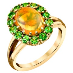 1.91 Carat Golden Opal & Tsavorite Garnet 18k Yellow Gold Cluster Cocktail Ring