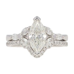 1.91 Carat Marquise Diamond Ring and Wedding Band, 14 Karat White Gold GIA