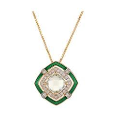 1.91 Carat Pressiolite Cushion Briollete Diamond Enamel Pendant Necklace