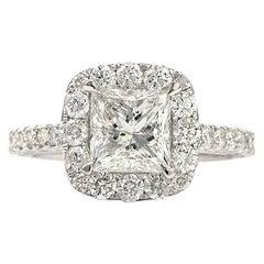 1.91 Carat Princess Cut F-G SI3 White Diamond Ring