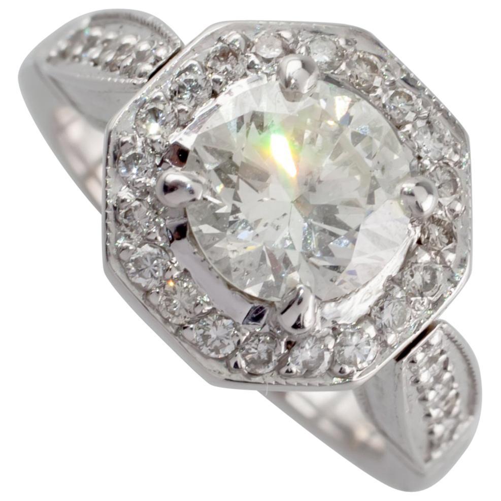 1.91 Carat Round Diamond Halo 18 Karat White Gold Engagement Ring GIA Certified