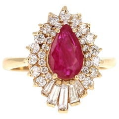 1.91 Carat Ruby Diamond 14 Karat Yellow Gold Cluster Ring