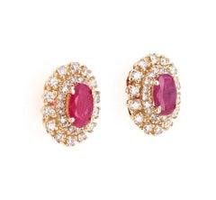1.91 Carat Ruby Diamond 14 Karat Yellow Gold Earring Studs
