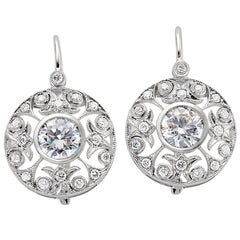 1.91 Carat Total Weight Diamond Filigree Earrings Set in 14 Karat White Gold