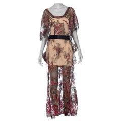 1910 - 1920 Silver Lamé  Embroidered Silk Tulle Kaftan