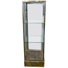 1910-1930 Brass and Glass Columnar Vitrine Display Cabinet