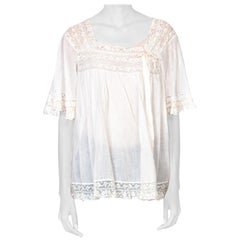 Victorian White Cotton Voile & Lace Oversized Boho Bed Jacket Top