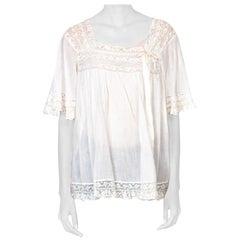 1910/20'S Antique Cotton + Lace Boho Top