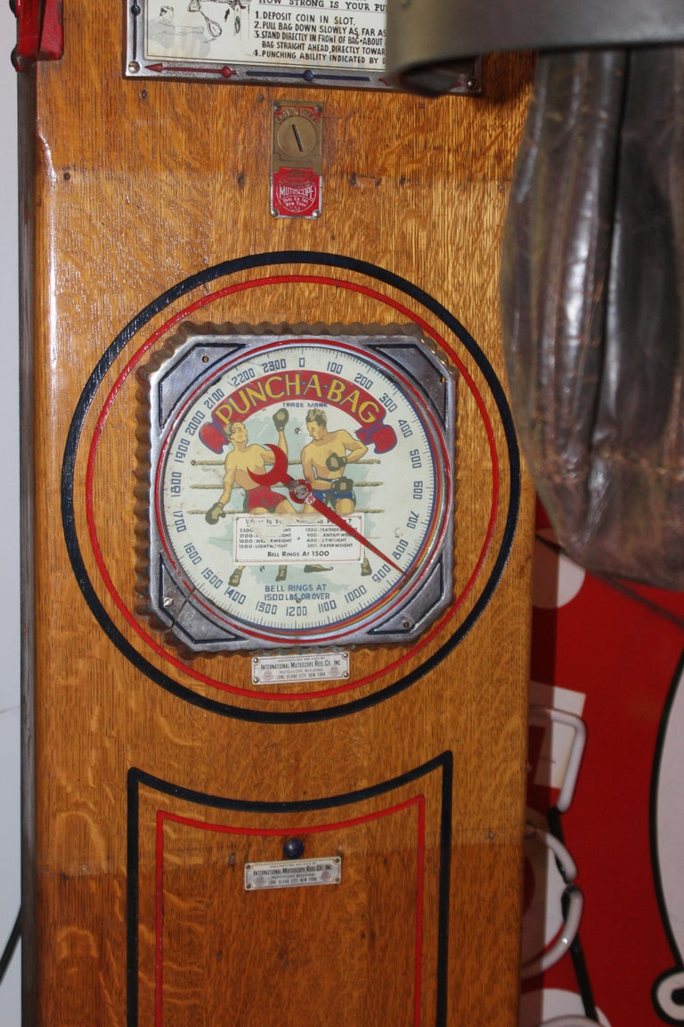 "American 1910s-1920s Mutoscope ""Punch-a-bag"" Floor Punching Bag Game For Sale"