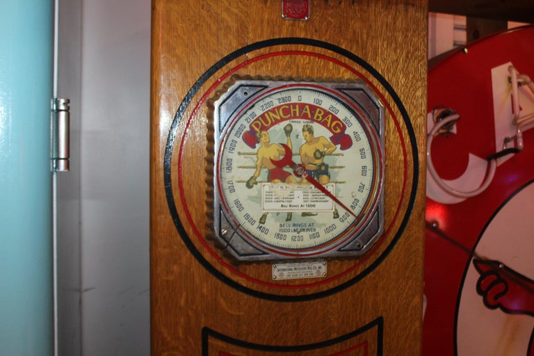 "1910s-1920s Mutoscope ""Punch-a-bag"" Floor Punching Bag Game In Fair Condition For Sale In Orange, CA"