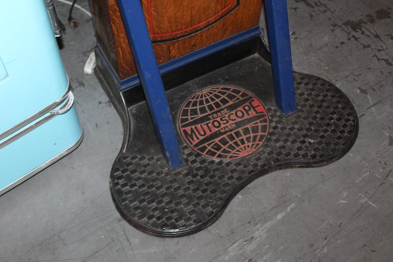 "Wood 1910s-1920s Mutoscope ""Punch-a-bag"" Floor Punching Bag Game For Sale"