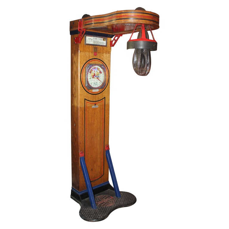"1910s-1920s Mutoscope ""Punch-a-bag"" Floor Punching Bag Game For Sale"