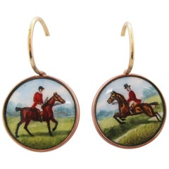 1910 9 Carat Rose Gold Hand Painted Horse and Rider Dangle Earrings