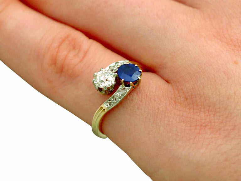 1910 Antique Sapphire and Diamond Yellow Gold Twist Ring For Sale 2