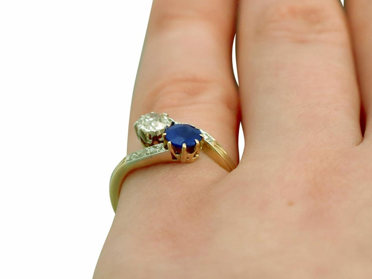 1910 Antique Sapphire and Diamond Yellow Gold Twist Ring For Sale 3