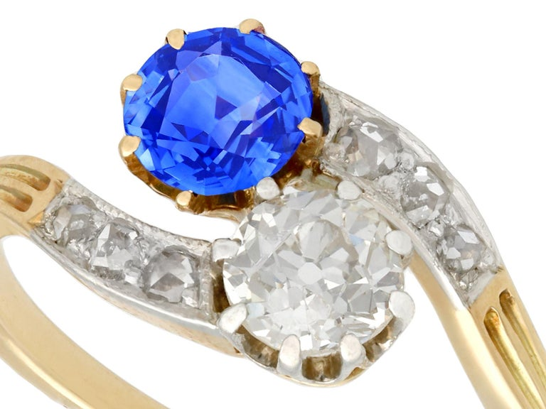 Round Cut 1910 Antique Sapphire and Diamond Yellow Gold Twist Ring For Sale