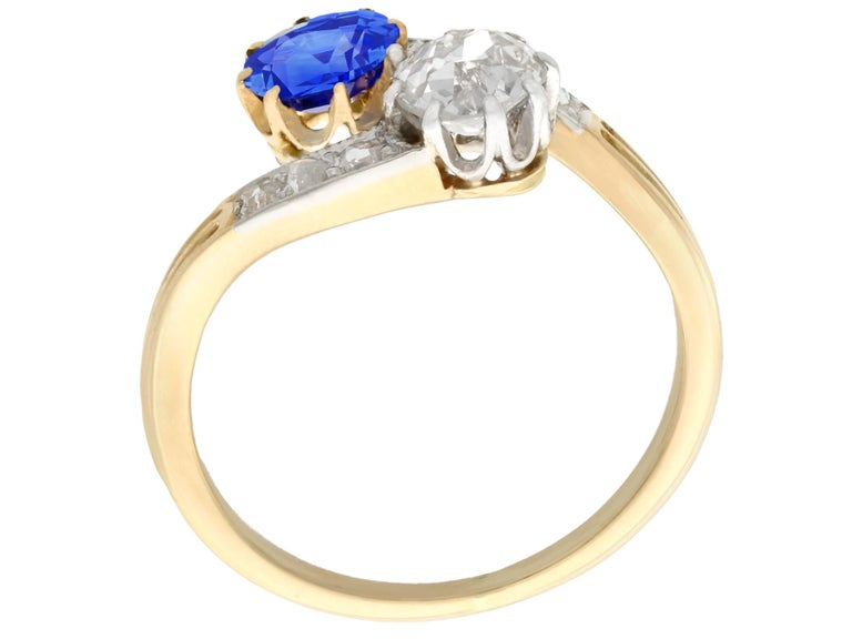 Women's 1910 Antique Sapphire and Diamond Yellow Gold Twist Ring For Sale