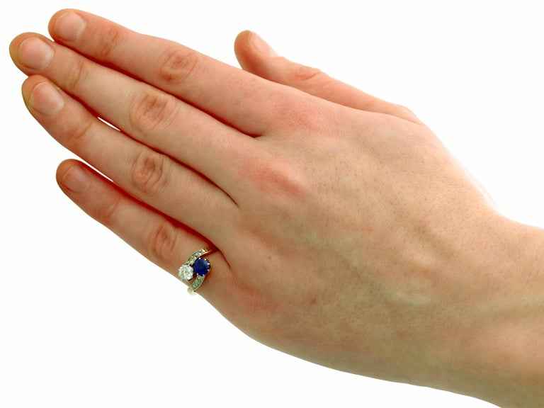 1910 Antique Sapphire and Diamond Yellow Gold Twist Ring For Sale 1