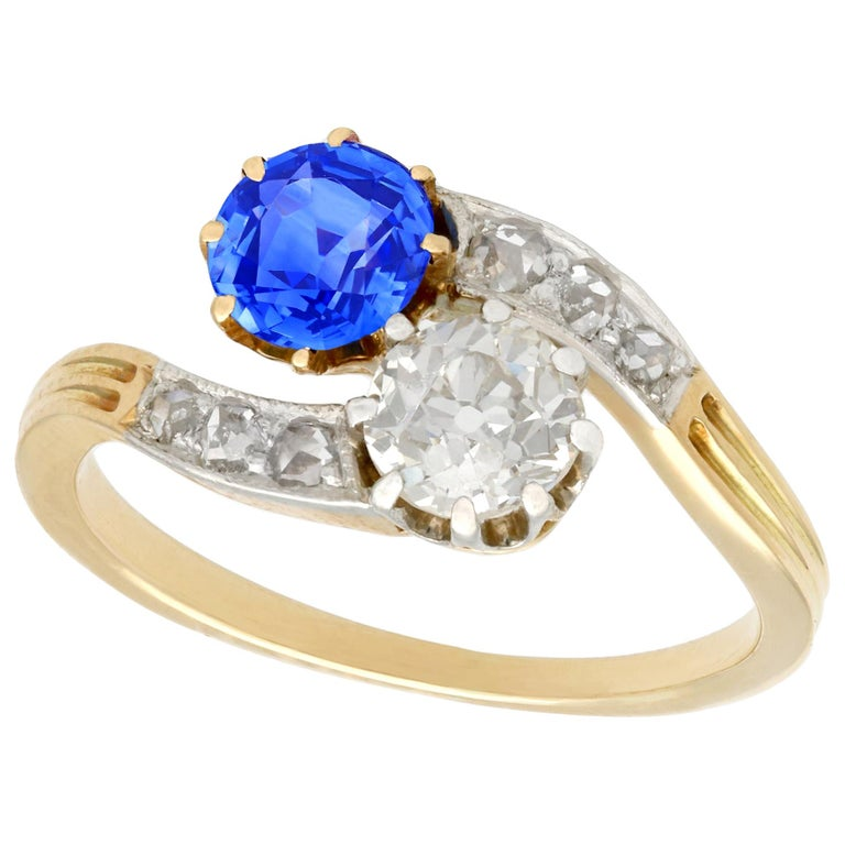 1910 Antique Sapphire and Diamond Yellow Gold Twist Ring For Sale
