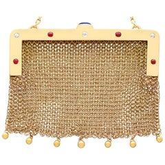 1910 Antique Sapphire, Ruby, and Diamond Yellow Gold Mesh Purse