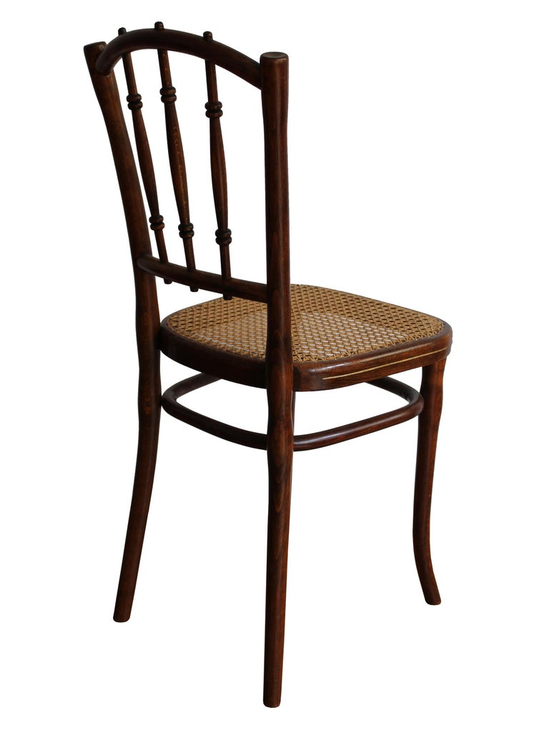 A pair of rare dining chairs produced by Thonet Austria circa 1910.