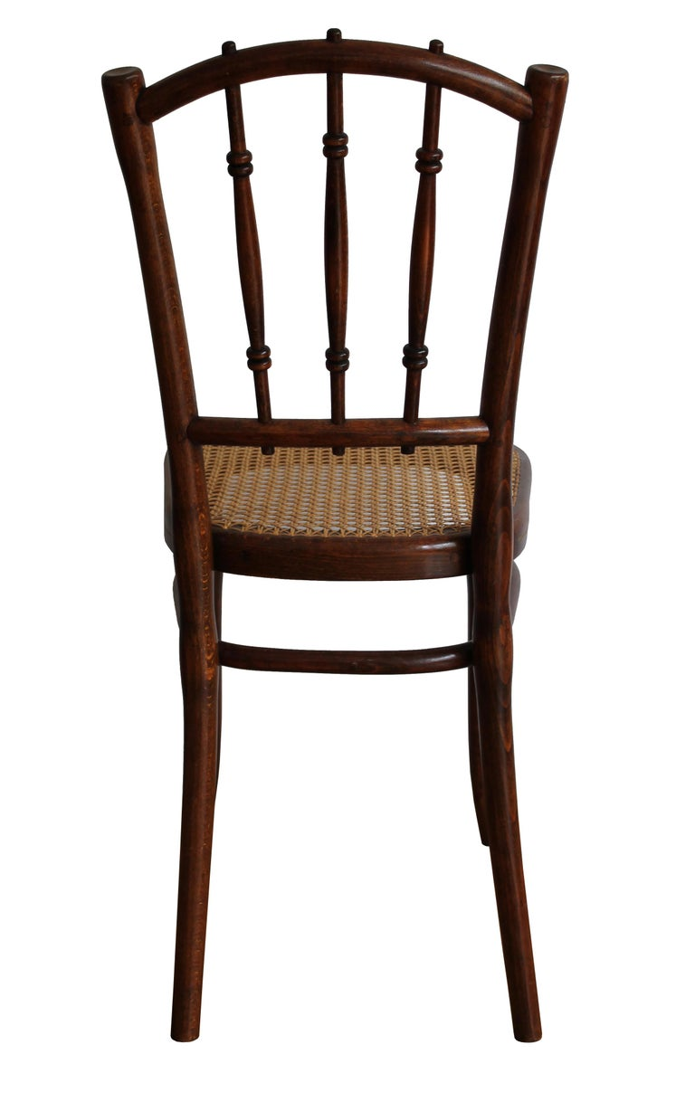 Austrian 1910 Art Nouveau Pair of Dining Chairs by Thonet Austria For Sale
