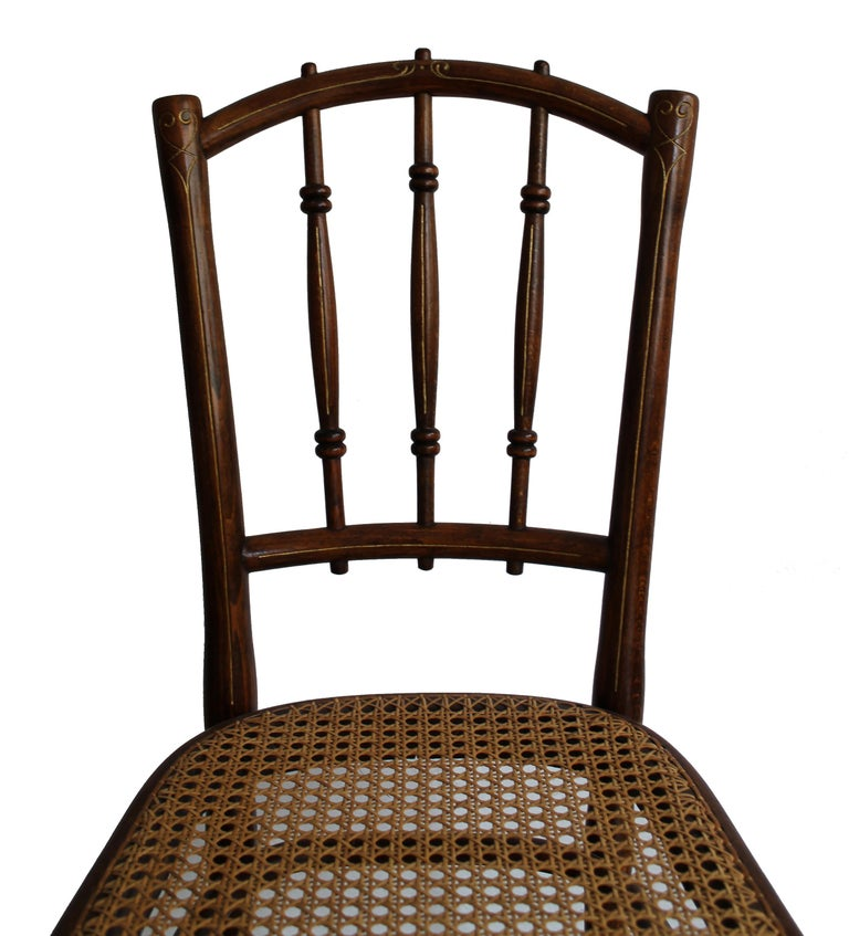 20th Century 1910 Art Nouveau Pair of Dining Chairs by Thonet Austria For Sale