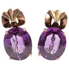 1910 Art Nouveau Purple Mystic Topaz Antique Earrings
