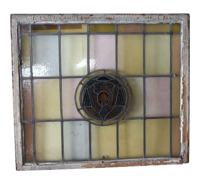 American 1910 Arts & Crafts Stained Leaded Glass Window with Ecclesiastical Motif For Sale